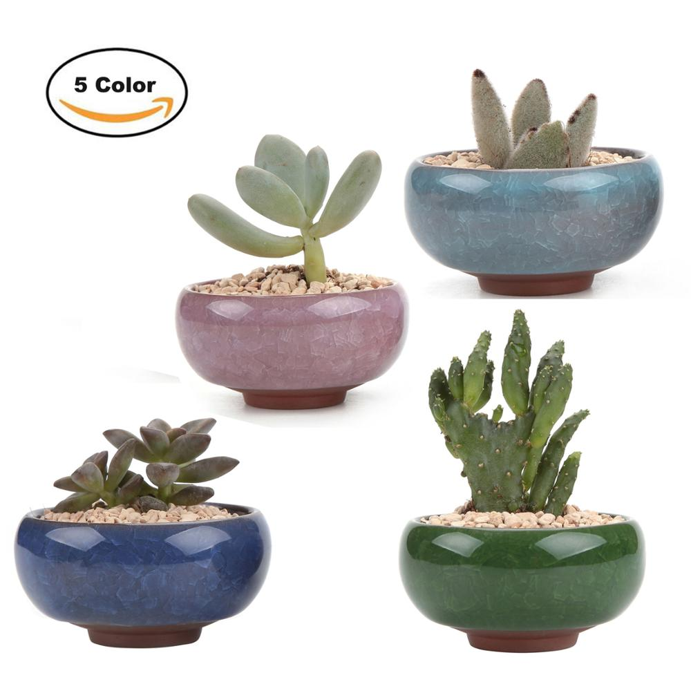 T4U 2.5 Inch Ceramic Ice Crack Zisha Serial Succulent Plant Pot Cactus Bonsai Pot Flower Pot Container Planter Garden Decoration