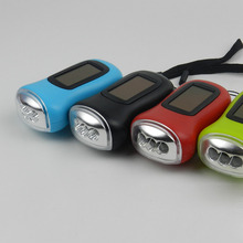 LED Hand Crank Dynamo Solar Power Rechargeable Carabiner Camping Flashlight  JDH99