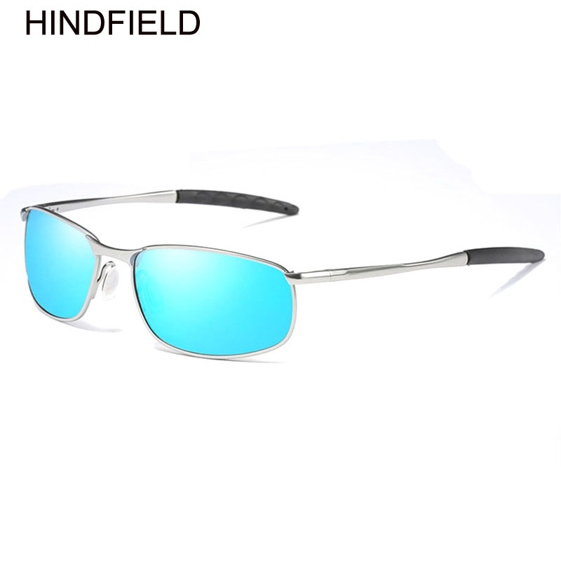 96145a74c89 Fashion Sunglasses Men Polarized Silver Frame Blue Lens Rectangle Sunglasses  Brand Designer Driving Glasses Male Luxury Goggles-in Sunglasses from Men s  ...