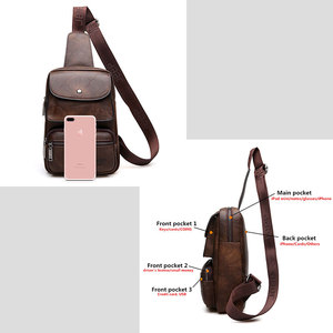 Image 5 - JEEP BULUO Männer Brust Tasche 2 stücke Set Hohe Qualität Split Leder Unisex Crossbody Sling Tasche Für iPad Große Größe mann der Reisetasche Marke