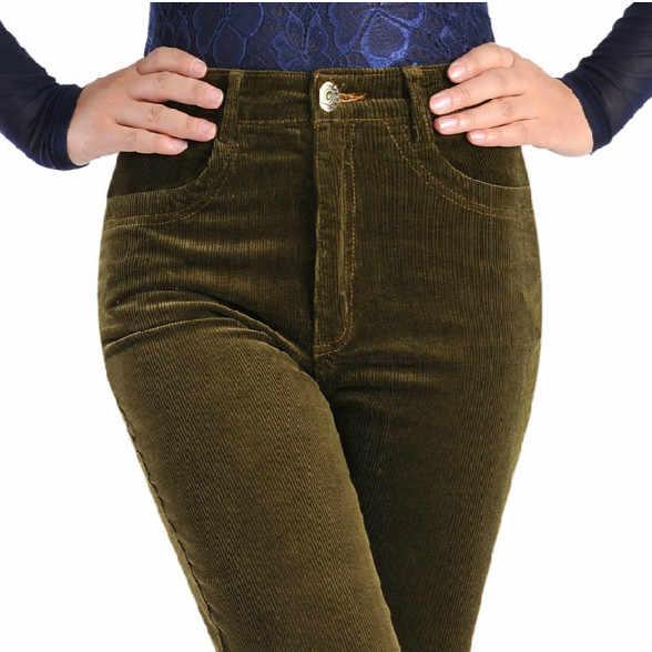 Pantalones De Pana Elasticos Para Mujer Pantalones Sueltos De Cintura Alta De Algodon De Talla Grande Primavera 2020 Pantalones Y Pantalones Capri Aliexpress