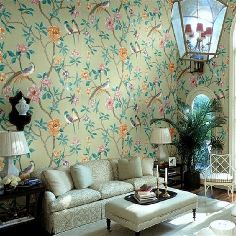 beibehang High - end lobby banquet hall wallpaper wallpaper backdrop super - green Chinese style flowers rich bird wallpaper beibehang chinese high end 3d