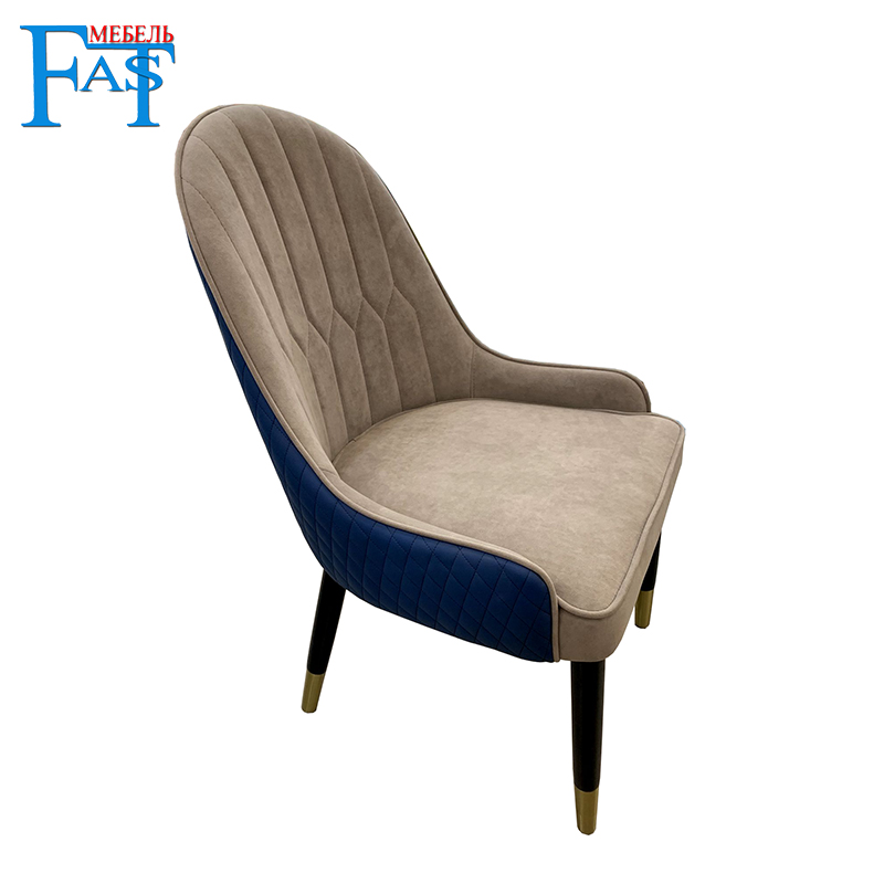 Chaise de salle à manger moderne minimaliste avec le cuir d'unité centrale, le bois et le pied d'acier inoxydable