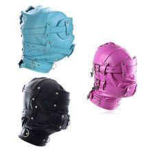Fetish Mask Head Hood with Lockable Blindfold & Dildo Penis Mouth Gag Costume Bondage Adult Sex Toys BDSM