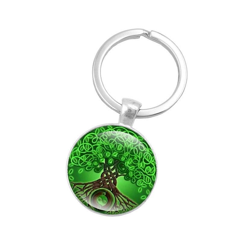 0cdb4bab8c995 Xj xushui دائرة سلتيك خشب شجرة الحياة طباعة الزجاج قلادة الاكسسوارات الفضة  مفتاح حلقة مفتاح سلسلة المفاتيح الأزياء والمجوهرات