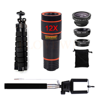 12X Telephoto Zoom Lens Fish Eye Wide Angle Macro Camera Lenses Phone Tripod Monopod Selfie Stick