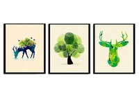 3 Pieces Styles Nordic Minimalist Plants Canvas Art Print Poster Green Leaf Painting On Canvas Wall