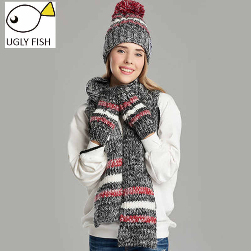 010f232819b ... woman winter hat and gloves sets cotton fashion women hat scarf gloves  set solid hat and ...