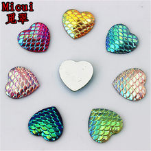 100pcs 14mm AB Color Heart Resin Rhinestone Fish Scale Flatback Crystal  Stones Gems For clothing Crafts 1f4ac6019f83