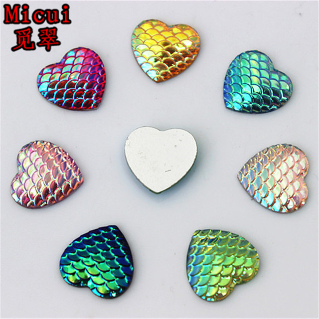 100pcs 14mm AB Color Heart Resin Rhinestone Fish Scale Flatback Crystal  Stones Gems For clothing Crafts Decorations DIY ZZ651 32fef023cbc9