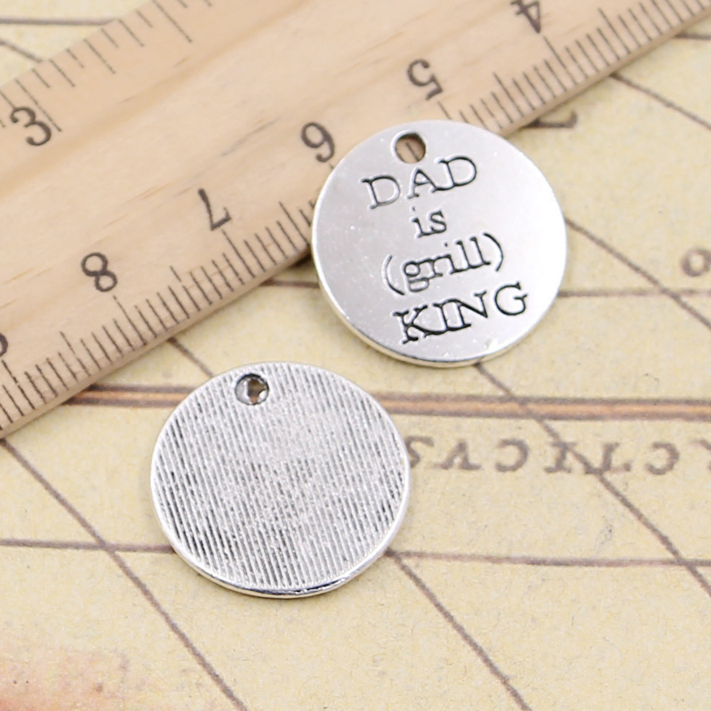 10pcs Charms Plates Dad Is Girll King 20x20mm Tibetan Silver Plated Pendants Antique Jewelry Making Diy Handmade Craft