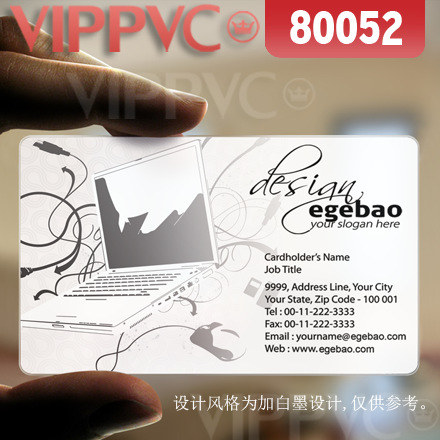 80052 white business cards  - matte faces transparent card thin 0.36mm