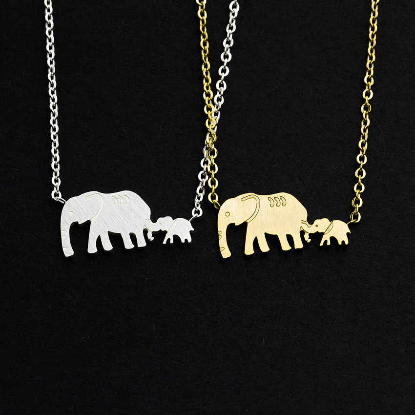 Double Elephant Necklaces Mother Gifts Dainty Jewelry Stainless Steel Animal Mama Baby Pendants Necklaces Collares Mujer Bijoux
