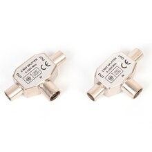 Cavo coassiale antenna a 2 vie TV T Splitter maschio a 2 connettori femmina adattatore Splitter coassiale