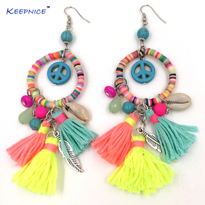 New dangle earrings with cotton tassel colorful summer style Polymer clay beads charms earrings with peace symbol(China)