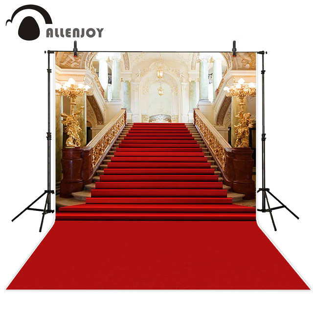 Allenjoy wedding background photography classic palace red carpet vintage stair professional backdrops photobooth photo studio