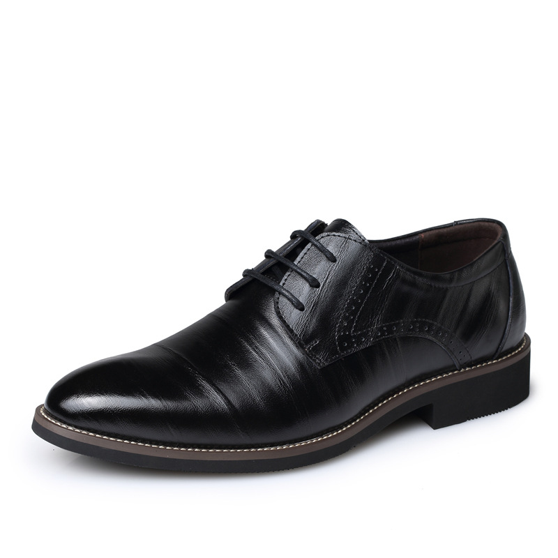 Mens Dress Shoes Fashion Pointed Toe Lace Up Mens Business Casual Shoes Brown Black Leat ...