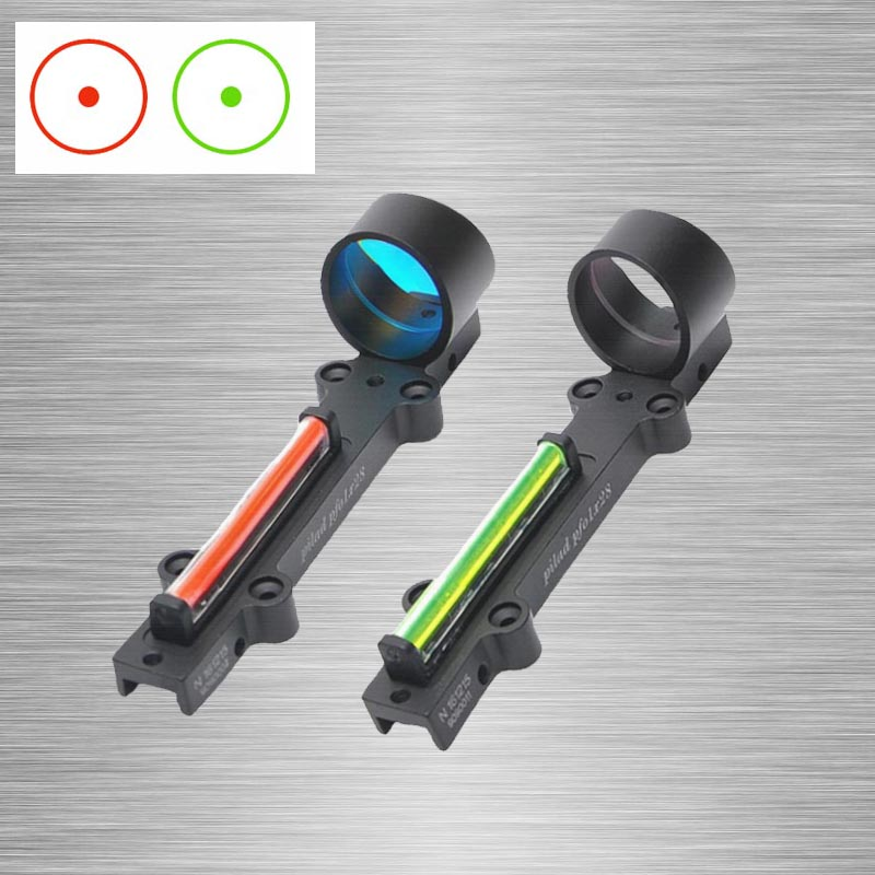 New Red/Green Fiber Red Dot Sight 1x28 Collimator Sight Fit Shotguns Rib Rail Vent Rib/Rail Screw Mount Works WITHOUT Battery