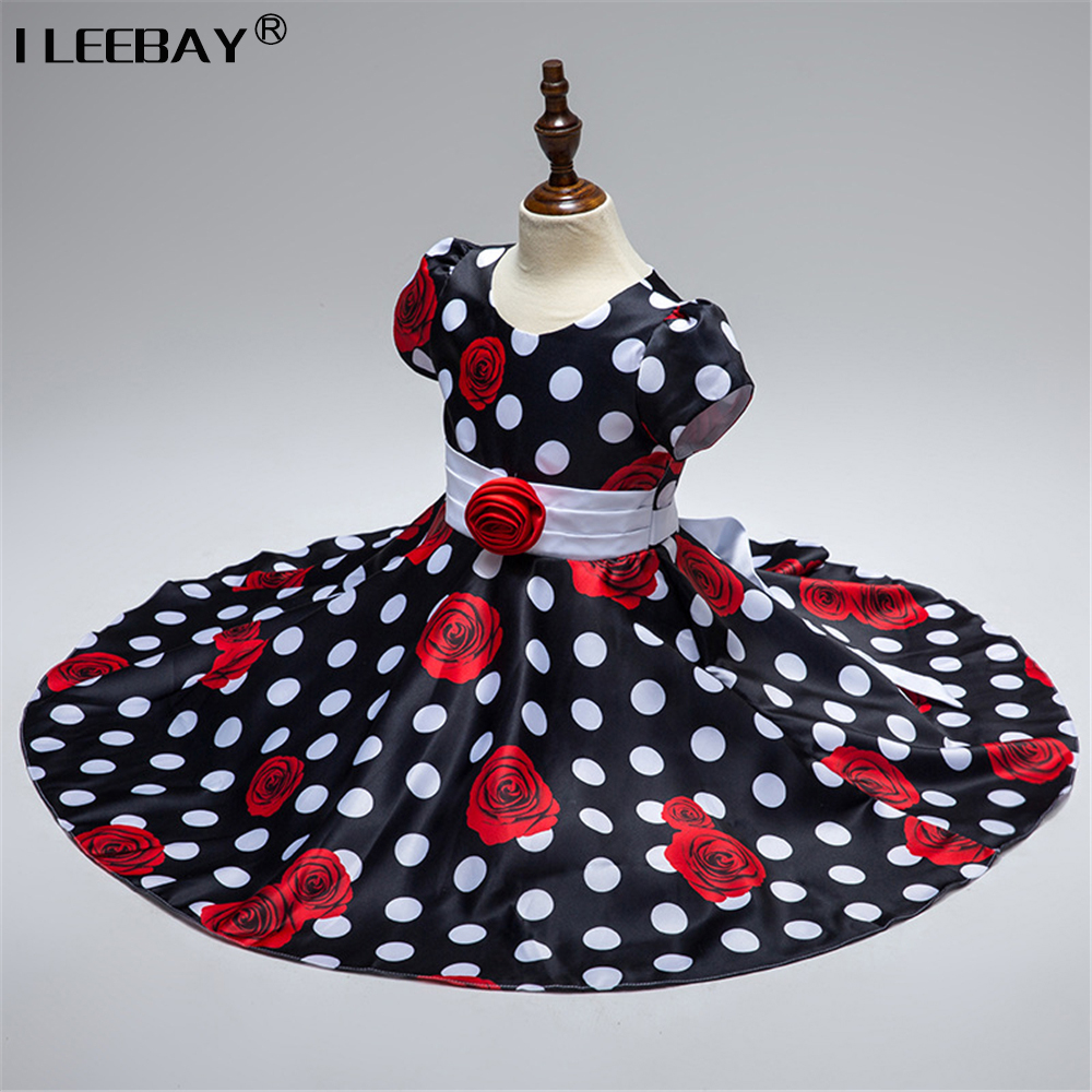 Summer Flower Dresses for Girls Children White Dot Princess Dress with Appliques Kids Bow Costume Flower Girl Wedding Clothes girls dress 2017 new summer flower kids party dresses for wedding children s princess girl evening prom toddler beading clothes