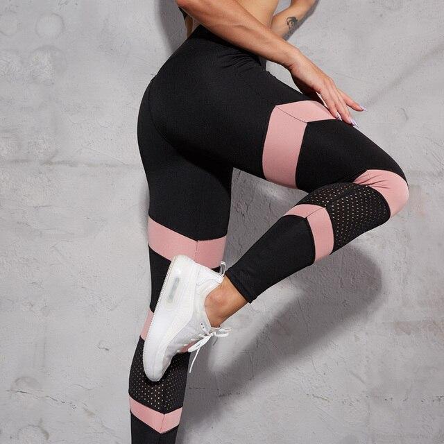 NORMOV Women Leggings Fashion Mesh Patchwork Hollow Out High Wasit Push Up Legins Ankle Length Leggins Fitness Leggings Feminina 10