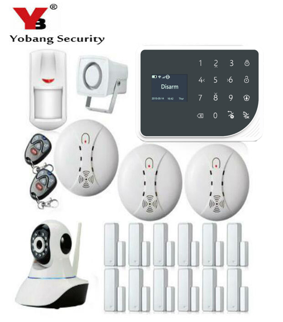 YoBang Security Wireless WIFI GSM Security font b Alarm b font System TFT Display Home Security