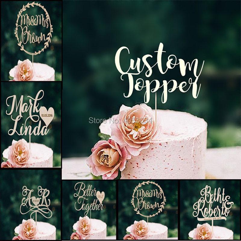Mr and Mrs 1Pcs Wooden Wedding Cake Topper Personalized with Love Heart