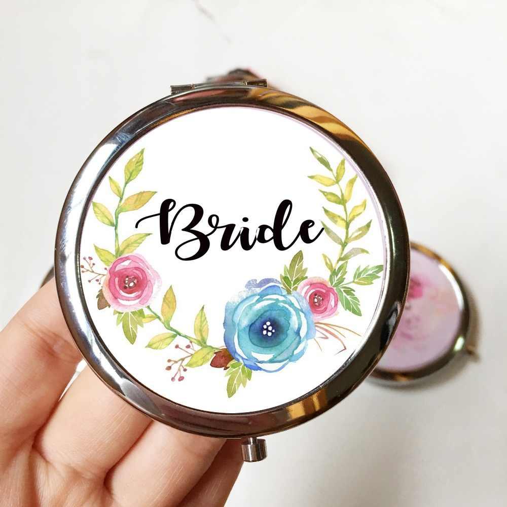 Wedding Favour Personalised Round Compact Mirror Xmas Birthday