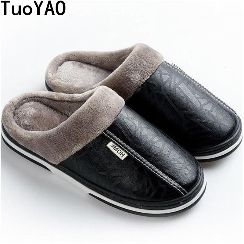 New Men's Slippers Indoor Waterproof Winter Slippers Anti Dirty Fur Shoes Flats Plush Warm House Slippers Non-Slip Big Size35-50