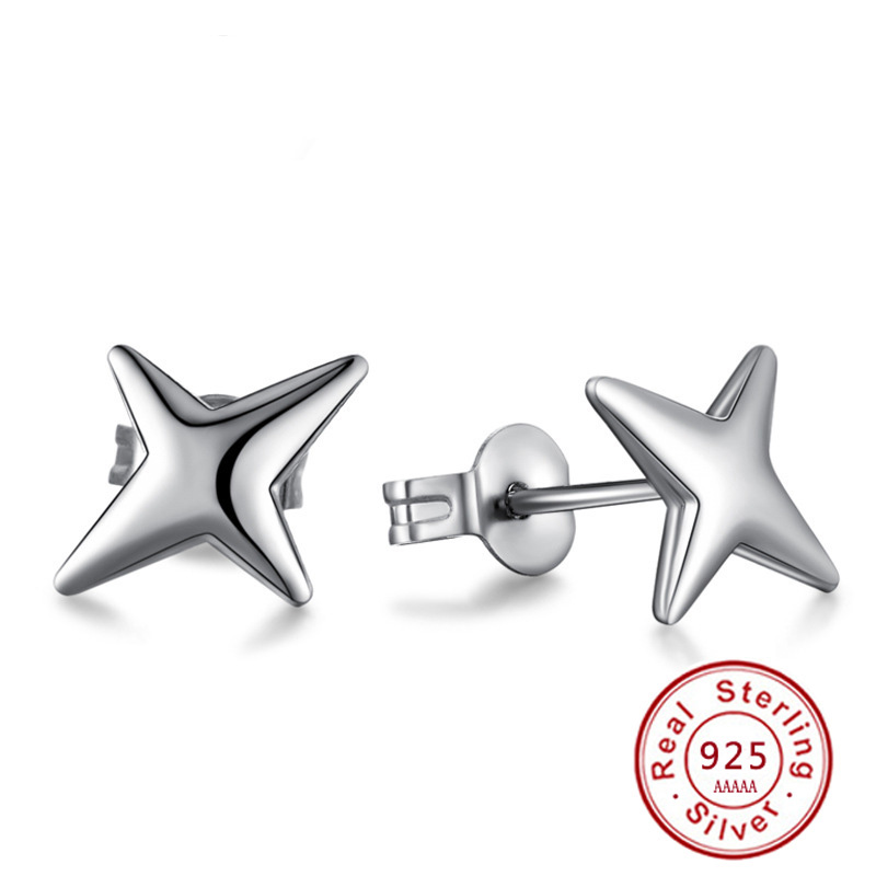 Peacock Star Halo Stud Earrings Solid 925 Sterling Silver