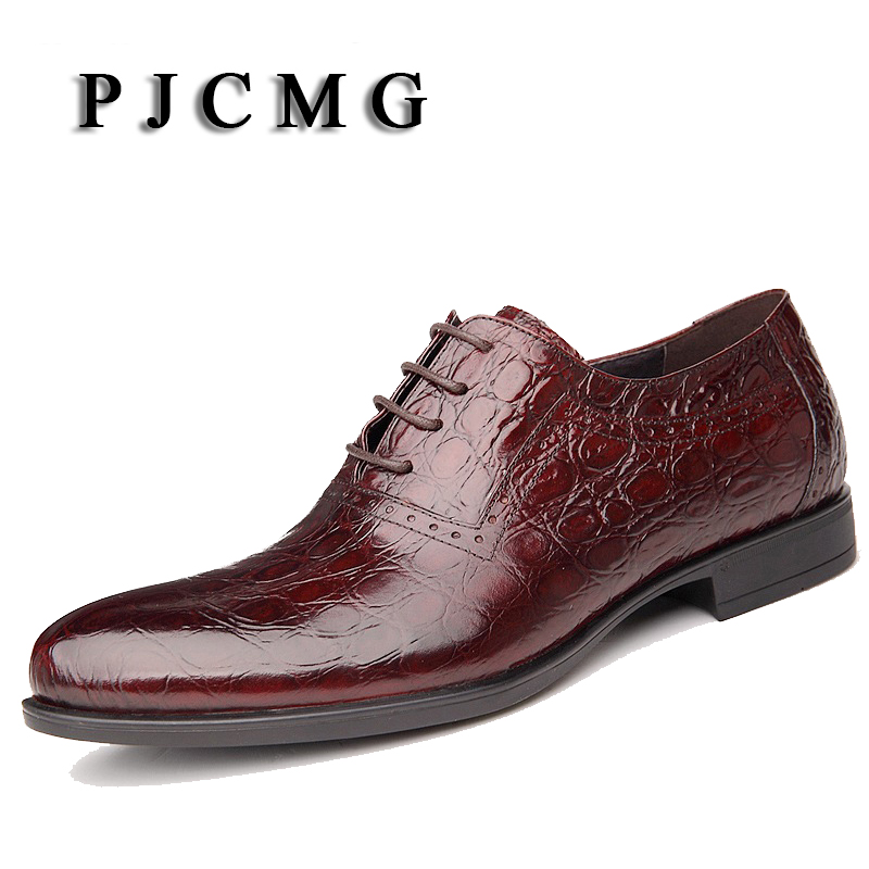 PJCMG British Style High Quality Men Oxfords Crocodile Pattern Genuine Leather Lace-Up Wedding Dress Business Men's Flats Shoes high quality men s shoes genuine leather british style mens loafers lace up business men oxfords shoes wedding dress flats shoes