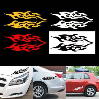 1Pair Universal Mural Vinyl Covers Auto Flame Fire Sticker Car Sticker Styling Engine Hood Motorcycle Decal Decor Car-styling image