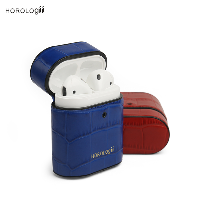 Horologii Custom Name FREE Italian leather blue croco pattern for apple AirPods Case dropship gift package