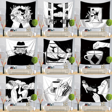 Pop Art Black White Creative Tapestry Polyester Rectangular Living Room Bedroom Home Decor Background Decoration Wall Hanging
