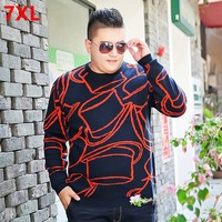 Fashion Plus Size Sweater Men S Round Neck Sweater 7XL Fertilizer Large Size Men S Autumn