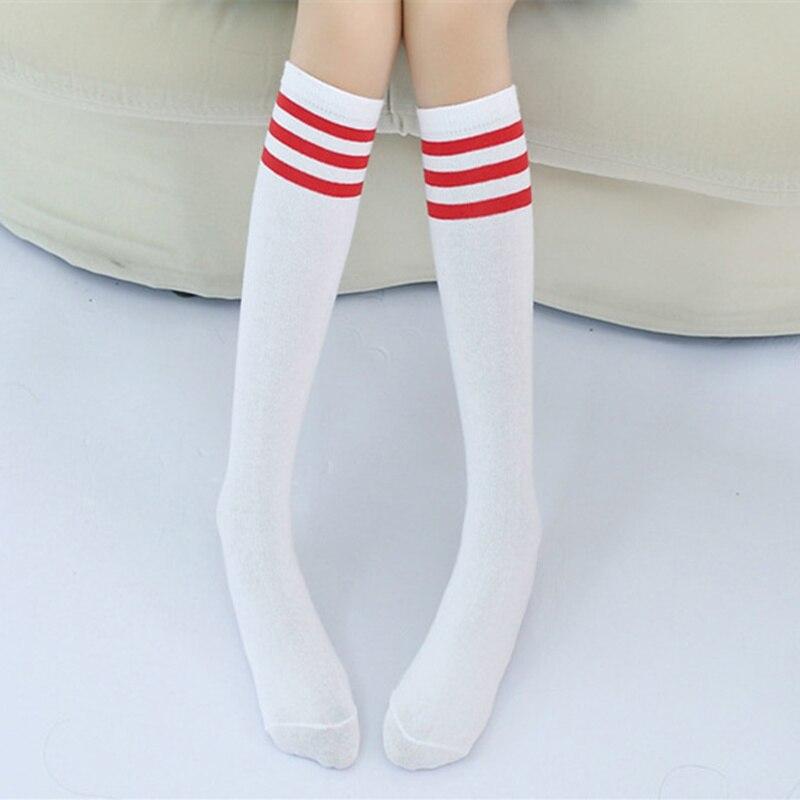 6d492e7dc39 Kids Knee High Socks Girls Boys Football Stripes Cotton Sports School White  Socks Skate Children Baby Long Tube Leg Warm