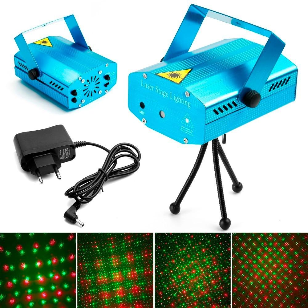 Mini projecteur Laser LED décorations de noël lumière Laser Disco lumière Laser Dj activée par la voix|Éclairage de scène à effet| |  -