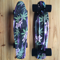 Green Leaves Floral Printed Mini Cruiser Plastic Skateboard 22 X 6 Retro Longboard Skate Long Board