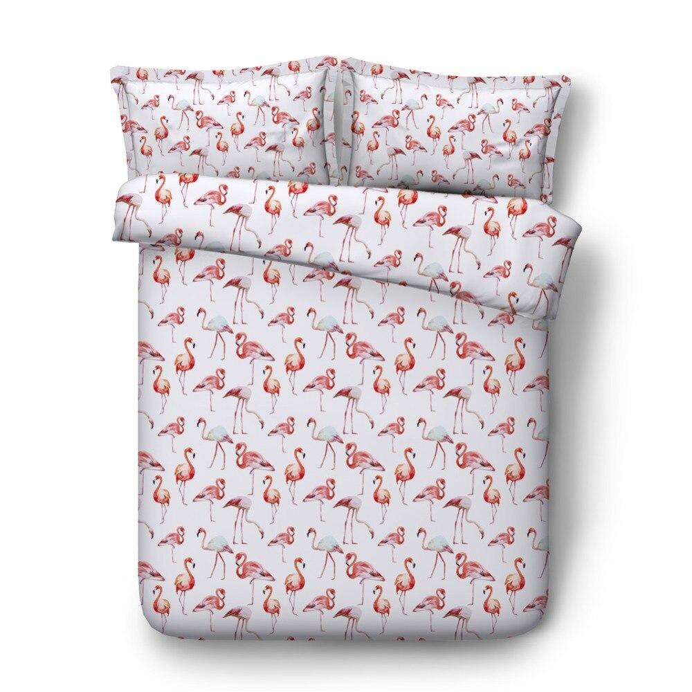 Full print pink flamingo bedding set single size 4pcs