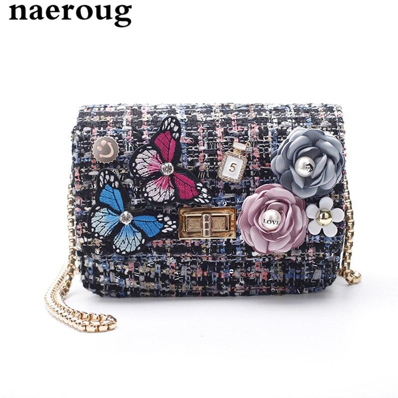 ФОТО Chain Women Velvet Messenger Bags Ladies Flowers Butterfly Designer Crossbody Bag Multicolor Shoulder Bag Bolsas Femininas Couro