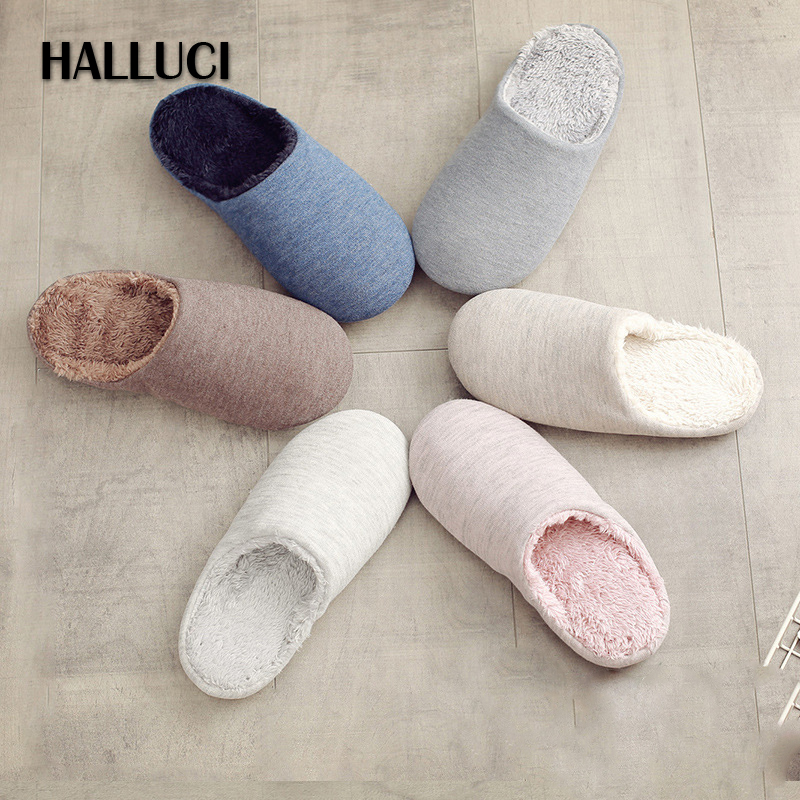 HALLUCI Plush home slippers women shoes couples slides cotton pantufa slippers fluffy sapatos mulher soft bottom zapatos mujer halluci breathable sweet cotton candy color home slippers women shoes princess pink slides flip flops mules bedroom slippers