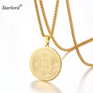 Bitcoin Necklace Pendant Stainless Steel/Gold/Black Cryptocurrency To The Moon Coin Jewelry GP3315(China)