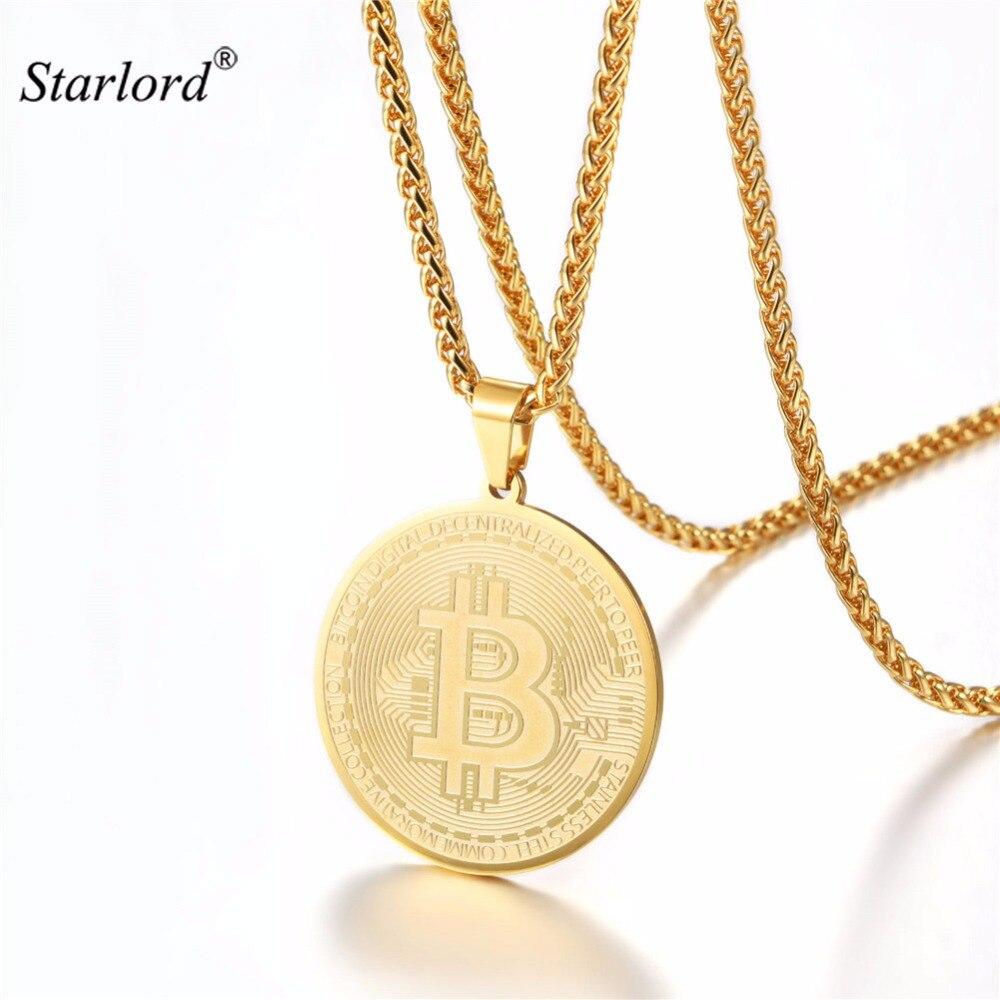 Pendentif collier Bitcoin acier inoxydable/or/noir crypto-monnaie à la lune bijoux GP3315