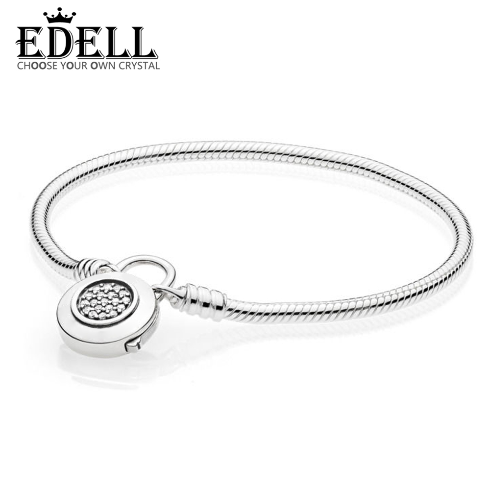 EDELL 100% 925 Sterling Silver 1:1 Authentic Classic Logo Round Zircon Pan 1:1 Lock Basic Snake Bracelet Suitable DIY Beaded цена