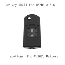 2 Buttons MAZ24R blade Flip Key Shell fit for MAZDA 3 5 6 Flip Remote Key Case Replace Fob For CR1620 battery