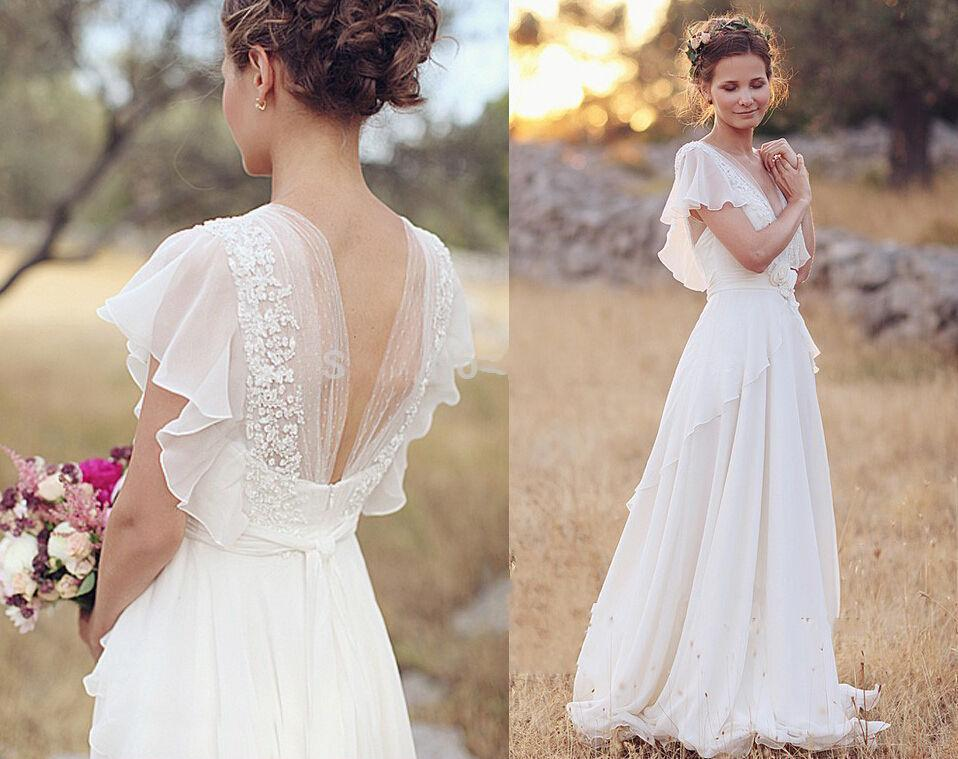 Deep V Neck Backless Bridal Dresses Flower Beading Juliet