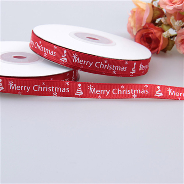 25 Yards/1cm Red Thread Printed Ribbon Handmade Christmas Gift Wrap Ribbon DIY Decoration Material