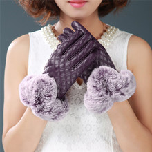 New Winter Warm Mitten Women PU Leather Rabbit Fur Balls Female Gloves Causal Wrist Soft Covered Finger Velvet Fitness Gloves