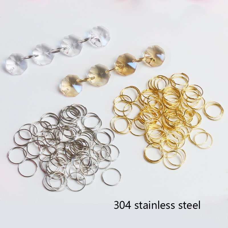 100x 11mm 12mm 13mm 15mm 20mm Round Stainles Steel Ring Crystal For Chandelier Ball Parts Bead Light Accessorise Curtain Connect