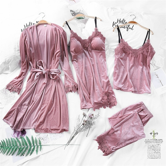 זהב קטיפה פיג 'מה לנשים 4 חתיכות אביב חליפת בגדי בית אישה סקסי תחרה חלוק פיג' מה סטי הלבשת שרוולים Nightwear