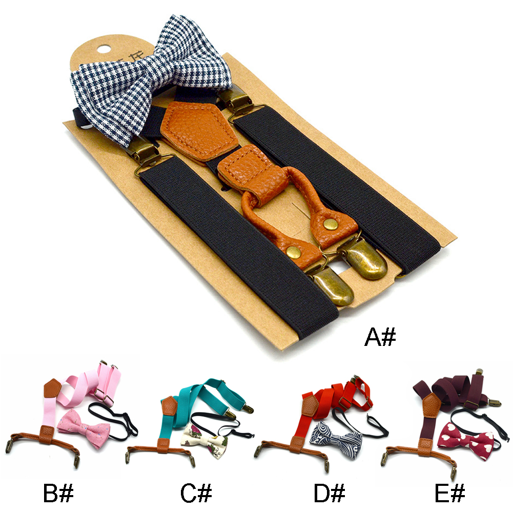 Solid Suspenders Clip Cute Elastic Suit Adjustable Printed Kids Blouses For Children Accessories Unisex Polyester Bow Tie Set